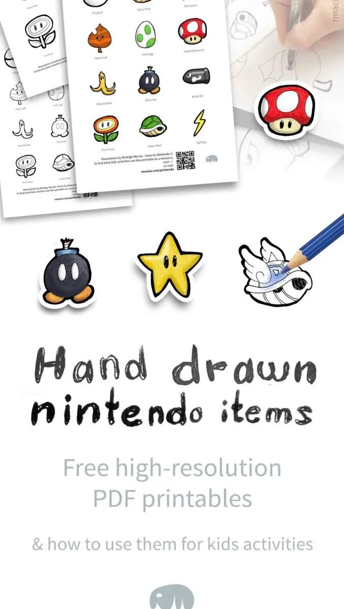 Hand-drawn Nintendo Items: Free Printables     Box of Ideas