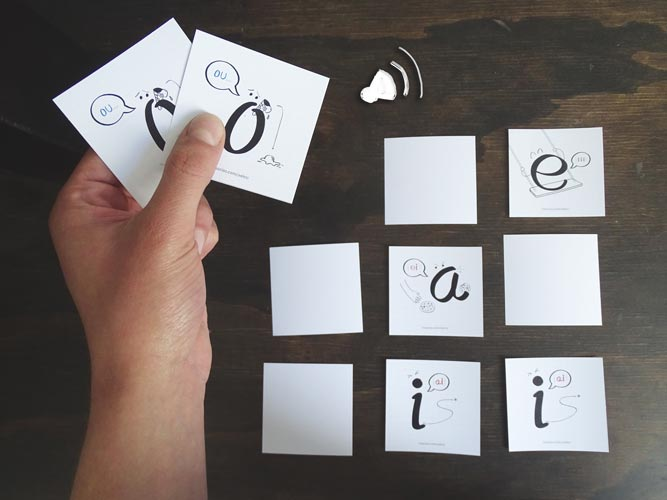 An ESL sounds memory game to practice English vowel names for spanish-speaking kids. By kids activities designer Rodrigo Macias