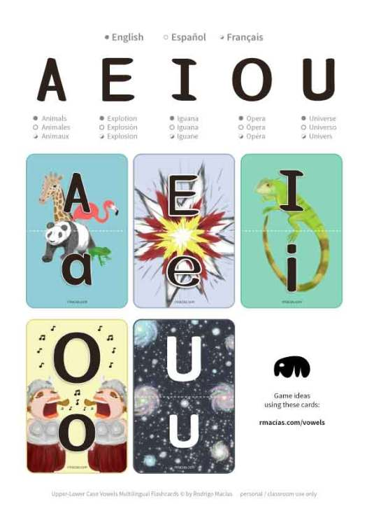 Preschool level kids that speak either English, Spanish or French can use these as a fun learning practice for upper and lower case alphabet vowels. If your kid is bilingual, then you might find them ultra useful 🙂 by kids activities designer Rodrigo Macias