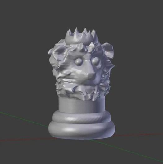 Gray animal king chesspiece with a Lion design by Rodrigo Macias for a free printable chess for kids