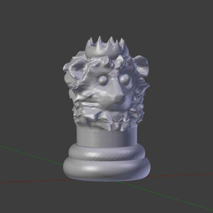 Gray animal king chesspiece with a Lion design by Rodrigo Macias for a free printable chess for kids