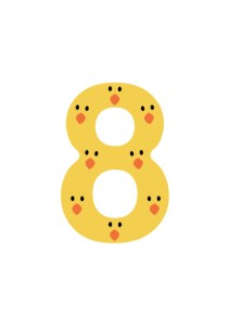 Number 8 Posters of Free Printable Numbers Bundle to teach number recognition that suits any language. Each number design has an X amount of cute animal faces within the number shape (i.e: Number 3 has 3 little pigs) for kids to count.