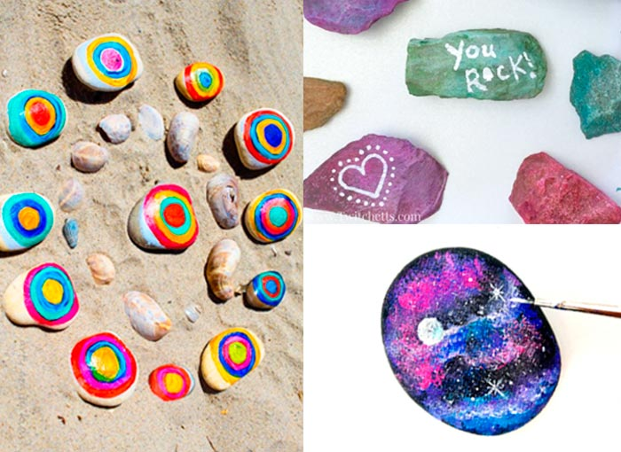 Compilation of +21 arts and crafts projects for kids that use Rocks as the main material.