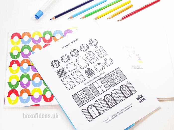 Windows printable coloring page for a recycled town project. A fun DIY kids craft toy made out of recycling. #printable #coloringpage #papertown