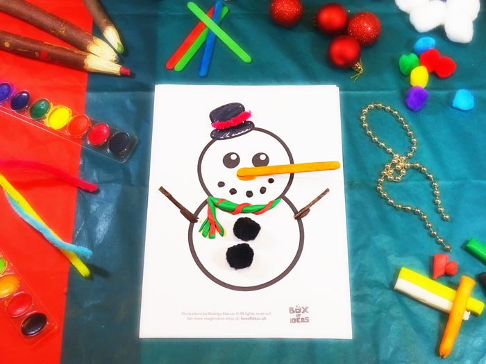 Snowman Craft using different materials to complete the picture #christmas #craft #kids