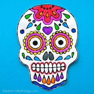 Sugar skull black glue art project by i Heart Crafty Things