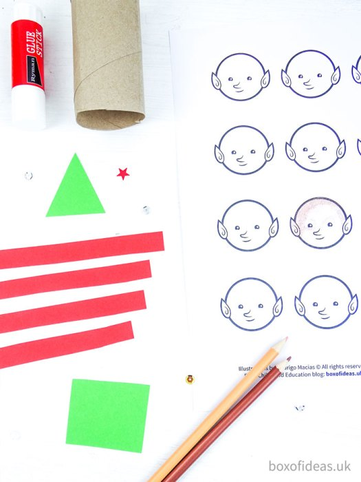 Craft supplies needed to make an Elf on the shelf for preschool at Christmas