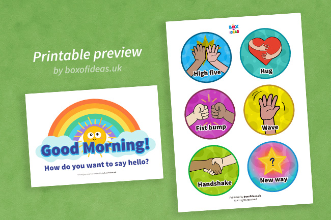 Printable preview of morning greetings choices signs for Kindergarten students.Preschooler pointing at morning greetings choices signs for Kindergarten students.