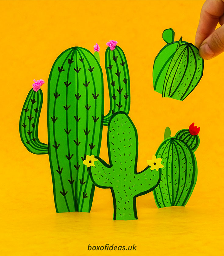 Four simple mexican paper cacti crafts made by kids #papercraft #kidscraft #crafts #cactus #easycrafts