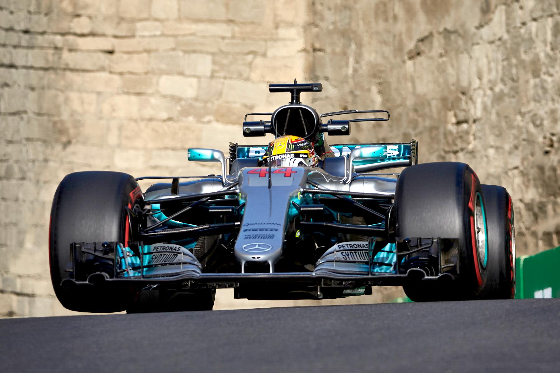 Lewis Hamilton in his Mercedes in Baku.
