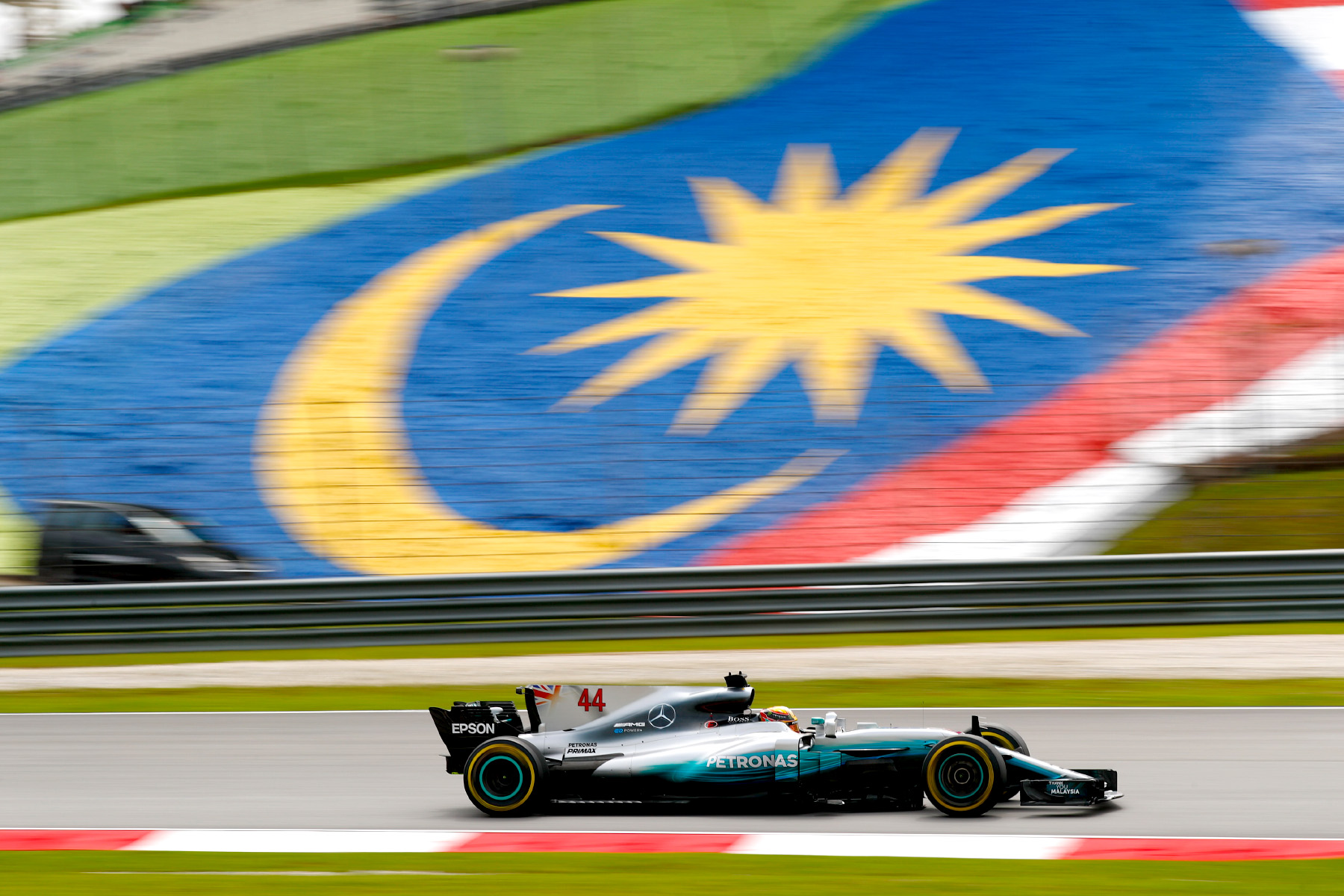 Lewis Hamilton on track at the 2017 Malaysian Grand Prix.