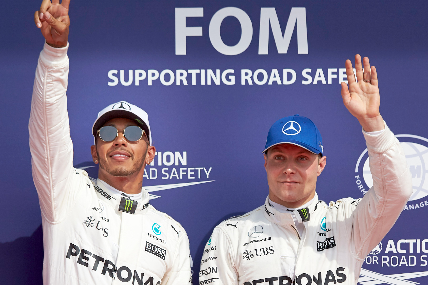Lewis Hamilton and Valtteri Bottas after qualifying for the 2017 Belgian Grand Prix.