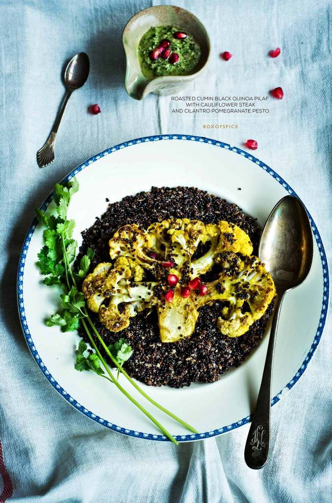 Cauliflower Steak with Black Quinoa and Cilantro Pomegranate Pesto
