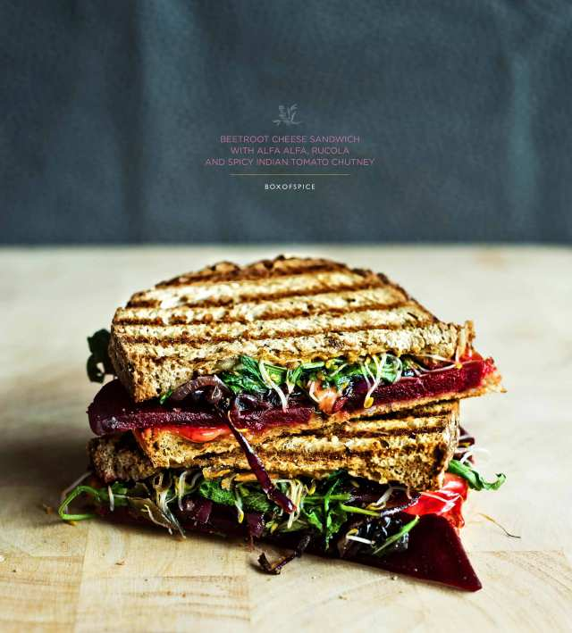 Beetroot  Cheese Sandwich with Alfa Alfa, Rucola and A Spicy Indian Tomato Chutney