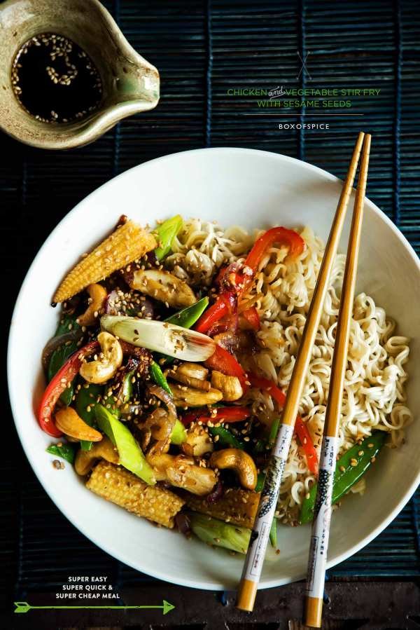 Chicken and Vegetable Stir Fry with Sesame Seeds
