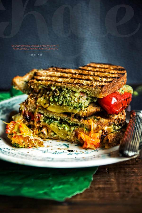 Blood Orange Cheese Sandwich with Grilled Bell Pepper and Kale Pesto