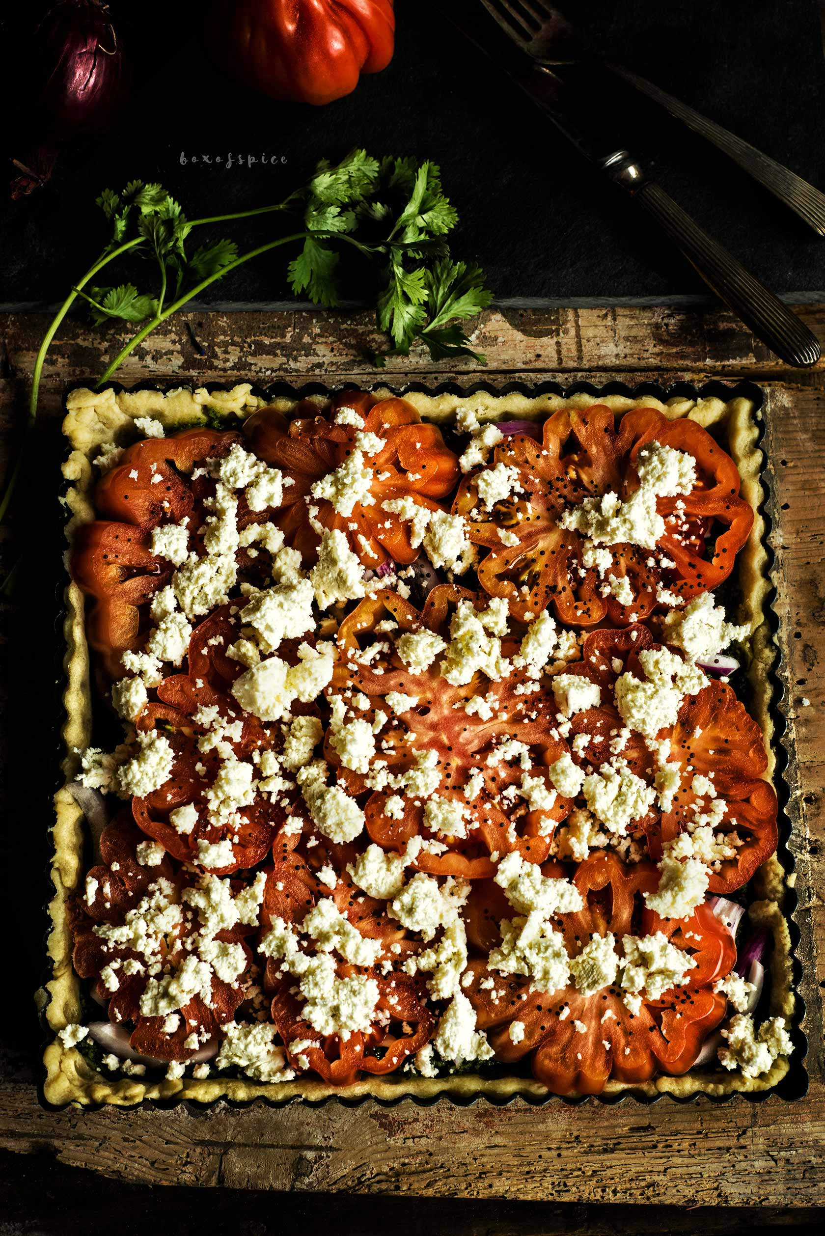 heirloom Tomato Tart with Cilantro Pesto and Paneer I Boxofspice