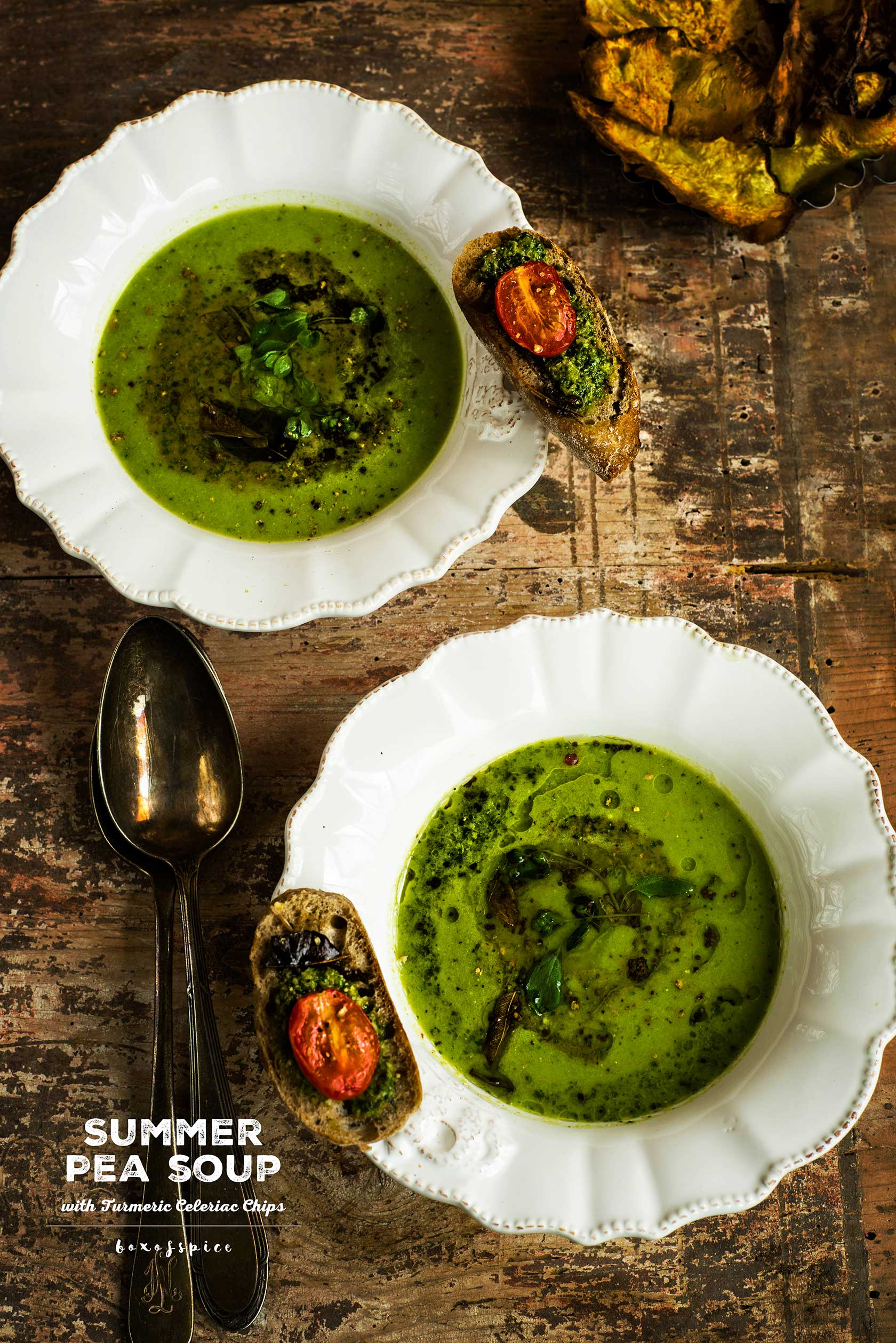 Summer Pea Soup with Turmeric Celeriac Chips I Boxofspice