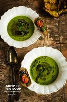 Summer Pea Soup + Turmeric Celeriac Chips