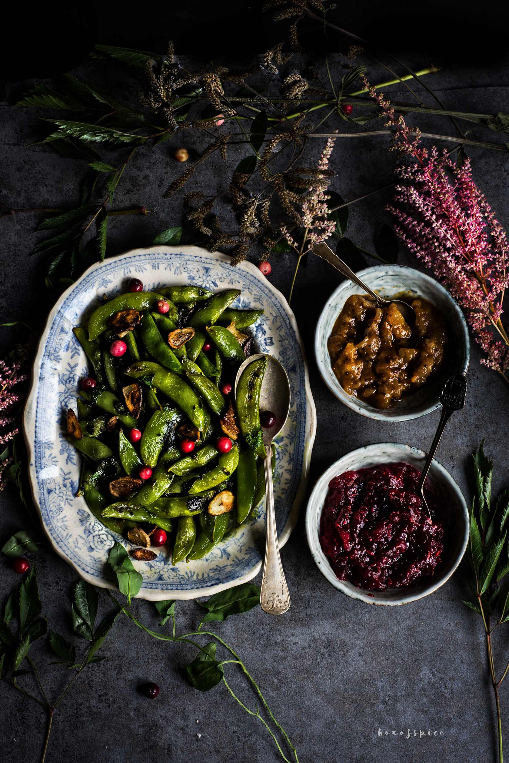 Burnt Garlic Sugar Snaps with Cranberry Chutney I Boxofspice