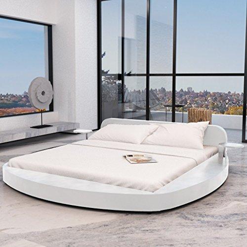 Anself Polsterbett Doppelbett Bett Ehebett Rundbett aus Kunstleder 180x200cm ohne Matratze Weiß