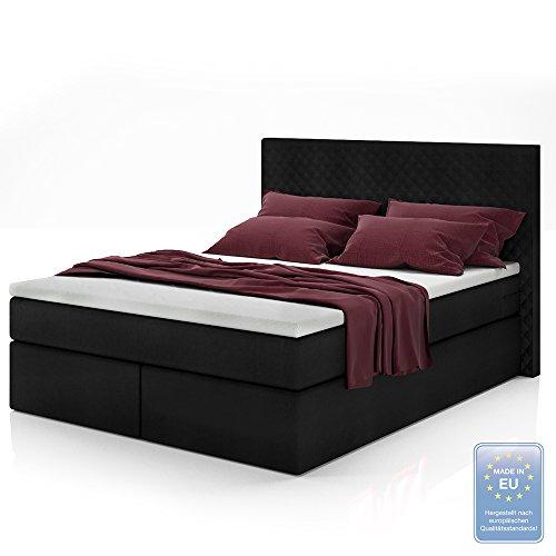Boxspringbett Design Doppelbett Polsterbett Bett Hotelbett inkl. Topper 140x200