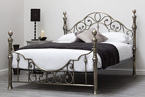 CANTERBURY Antik Messing Vintage Viktorianischer Stil Metall Bett-Rahmen Doppel oder King Größe durch 'Schlaf Design'