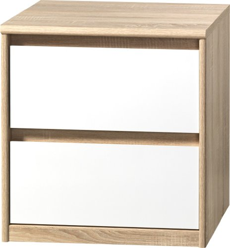 CS Schmalmöbel 75.012.051/01 Grifflose Boxspring Nachtkommode Soft Plus Smart Typ 01, 45 x 55 x 58 cm, eiche/weiß