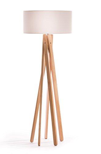 Hochwertige Design Stehlampe Tripod mit Textil Schirm aus Chintz in weiß und Stativ/Gestell aus Holz Echtholz (Buche) | H= 160cm | Stehleuchte | Natur | Handgefertigte Leuchte