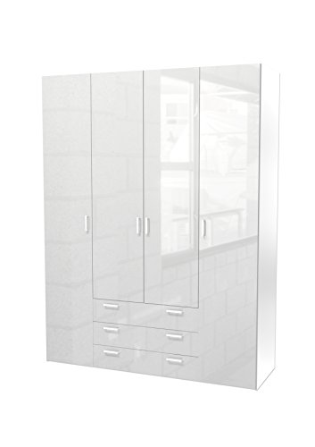 Kleiderschrank Schrank Kinderschrank Schlafzimmer 4-Türig Hochglanz Weiß Weiss