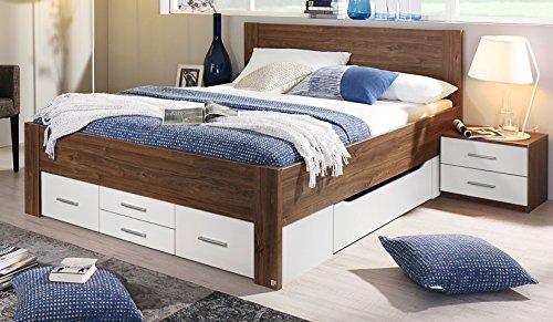 Rauch Bett mit 6 Schubkästen Eiche Stirling/alpinweiß 160 x 200 cm Schubladenbett Funktionsbett