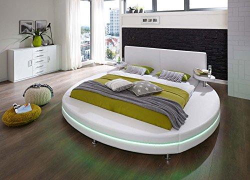 SAM Polsterbett 180x200 cm Glasgow, weiß, Rundbett mit gepolstertem Kopfteil, Bett mit Nachttischen und LED-Beleuchtung