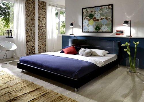 SAM Polsterbett 180x200 cm Teneriffa in schwarz, Kopfteil im abgesteppten modernen Design, als Wasserbett geeignet