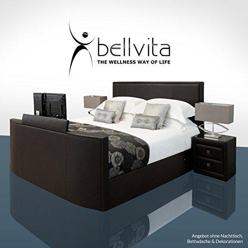 bellvita Luxus WASSERBETT mit Echtleder-Bettrahmen und versenkbarem Flat-TV inkl. Lieferung und Aufbau durch Fachpersonal, 180 x 200 cm