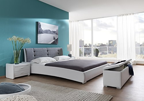 SAM® Polsterbett 180x200 cm Bastia, weiß-grau, pflegeleichtes Design-Bett mit Kunstlederbezug & Stoff, abgestepptes Kopfteil
