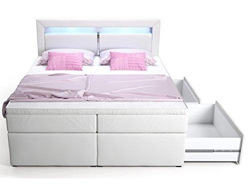 Boxspringbett mit Bettkasten Schubkasten weiß Sofia LED Beleuchtung Doppelbett Hotelbett Topper Taschenfederkern