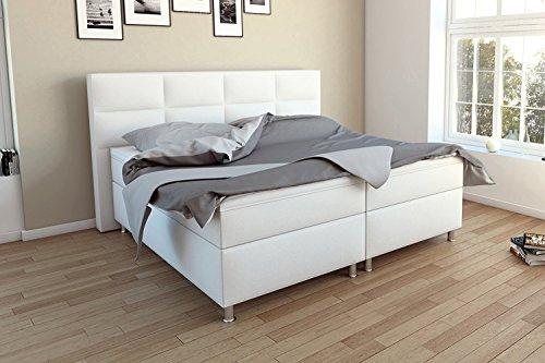 SAM® Design Boxspringbett in Weiß, Kunstlederbezug, Box mit Holzrahmen und Bonellfederkern, 1 x 140 cm Taschenfederkernmatratze, FSC® 100 % zertifiziert, 140 x 200 cm [XXXXXX]