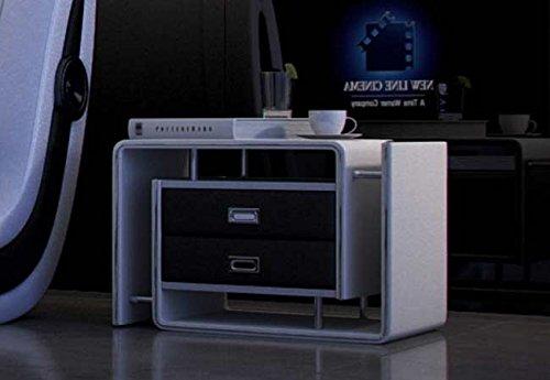 SAM Nachtkommode In-03 weiß/schwarz, rechts, Nachttisch im futuristischen Design, Konsole mit ausreichend Stauraum