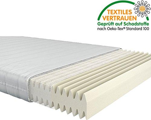 Fairmat orthopädische 7-Zonen Matratze | Komfortschaummatratze im Wellenschnitt | 16cm Gesamthöhe | Härtegrad H3 | Größe 90x200cm
