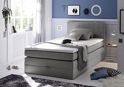 Boxspringbett 120x200 mit Bettkasten, Farbe: Savanna grau, inkl Visco Topper, Matratze: 7-Zonen-Tonnentaschenfederkern Matratze, Bett von Möbel-BOXX