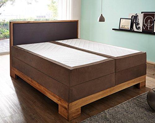 SAM® Design Boxspringbett Sirin, Box mit Holzrahmen und Bonellfederkern, 2 x 100 cm Taschenfederkernmatratze, optimale Einstiegshöhe, Kopfteil aus braunem Kunstleder, 200 x 200 cm [521782]