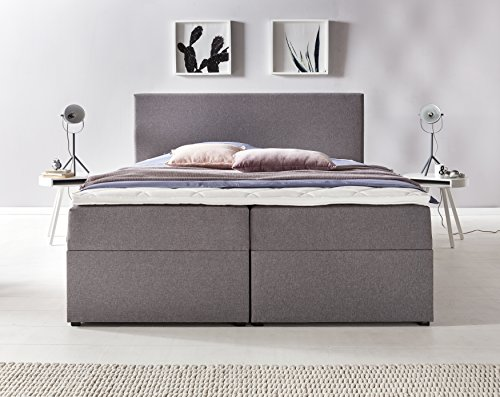 Möbelfreude® Bianca | 160x200 cm Hellgrau H2 | mit Bettkasten & hochwertiger Bonell Federkernmatratze | Polsterbett Boxspringbett