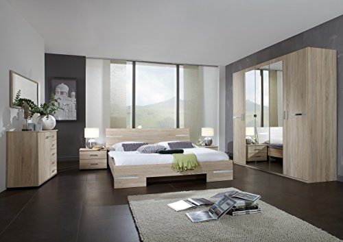 Dreams4Home Schlafzimmerkombination 'Avicio X', Schrank, Bett, Schlafzimmer komplett, Schlafzimmer Set, Eiche sägerau