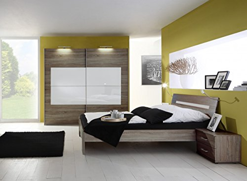 Dreams4Home Schlafzimmerkombination 'Jesso I', 1 Schrank, 1 Bett, 2 Nachtkonsolen, Schlafzimmer Set