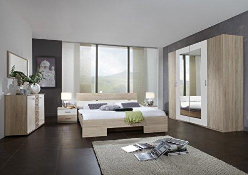 Dreams4Home Schlafzimmerkombination 'Prime', Kleiderschrank, 4-türig, Futonbett, Nachtschränke, Kombikommode, Eiche sägerau, weiß