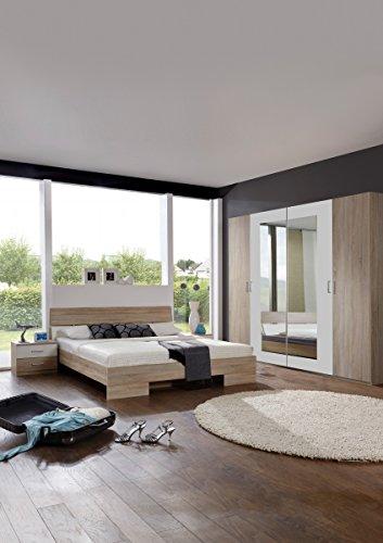 Dreams4Home Schlafzimmerkombination 'Prime XI', Schlafzimmer, Kleiderschrank, 4-türig, Bett, Futonbett, Nachtschränke, Eiche sägerau, weiß, Spiegelschrank