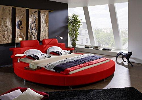 SAM® Rundbett Carlos 180 x 200 cm in rot Bett mit integrierter Beleuchtung im runden Design inklusive Nachttische und Kopfstützen mit Chrom farbenen Füßen