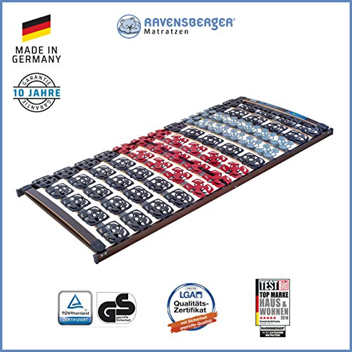 Ravensberger Matratzen Meditec® Lattenrost | 5-Zonen-TPEE-Teller-Systemrahmen | Schichtholzrahmen| Starr| MADE IN GERMANY - 10 JAHRE GARANTIE | TÜV/GS 90 x 200 cm