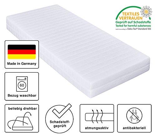 Kaltschaummatratze, Härtegrad H2 H3, 7 Zonen Matratze, Öko-Tex zertifiziert, Bezug waschbar, Rollmatratze, Made in Germany (180 x 200 cm)