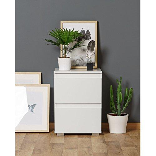 Nachtschrank Nachttisch Kommode PURE mit 2 Schubladen in Weiß - 40x55x35cm